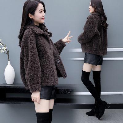 冬季新款外套女羊羔绒一体百搭韩版宽松女士短款外套加厚上衣女装