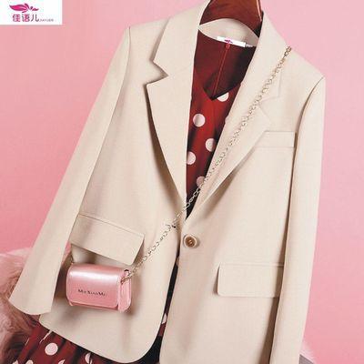 12303/2021春秋新款米色西装外套女韩版休闲英伦风西服宽松显瘦西装外套