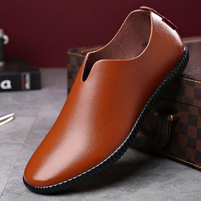 2020新款夏季舒适软底软皮驾车鞋英伦男皮鞋男士商务休闲鞋