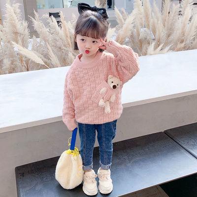 童装2021新款儿童卡通毛衣女童春秋长袖针织衫女宝宝网红小熊上衣