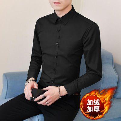 秋冬季加绒保暖长袖衬衫男士商务正装韩版潮流宽松加厚白色衬衣寸