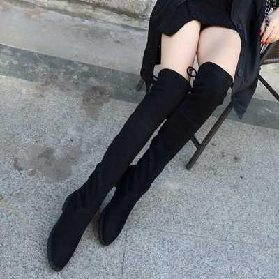 工厂直销粗跟过膝长靴女学生韩版2020冬新款平底瘦腿长筒高靴