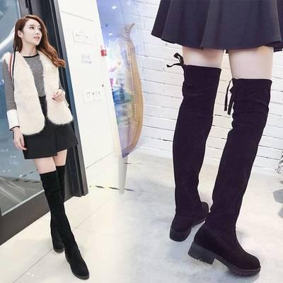 过膝长靴女2020新款冬季高筒女靴粗跟网红瘦瘦靴高跟百搭加绒女鞋【3月3日发完】