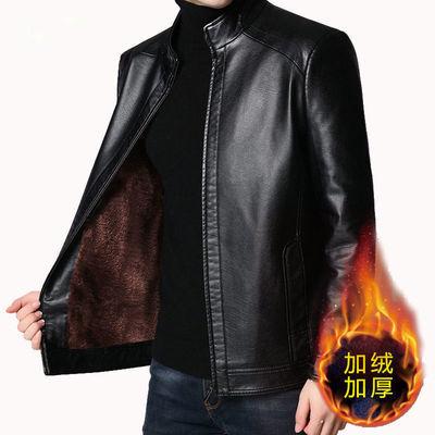 中老年秋冬男士皮衣加绒加厚爸爸装皮夹克宽松水洗皮海宁软皮外套