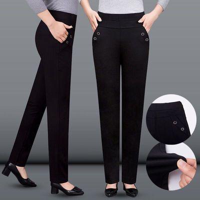 妈妈裤子女2021春秋新款弹力裤修身直筒长裤中老年高腰休闲女裤