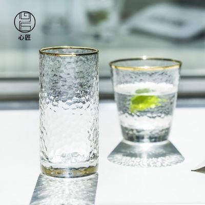 日式锤纹描金透明玻璃口杯冷热水杯柠檬水杯
