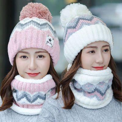 帽子女秋冬季韩版百搭护耳毛线帽加厚加绒保暖毛球学生骑车针织帽