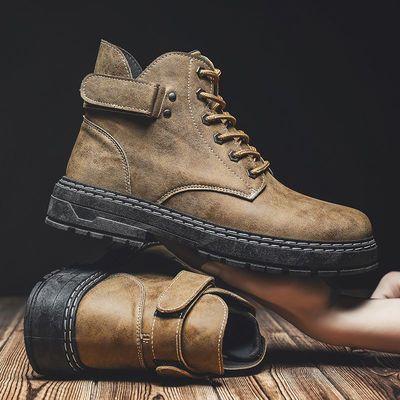 马丁靴男士工装靴军靴英伦风复古中帮男靴子秋季高帮男鞋雪地短靴