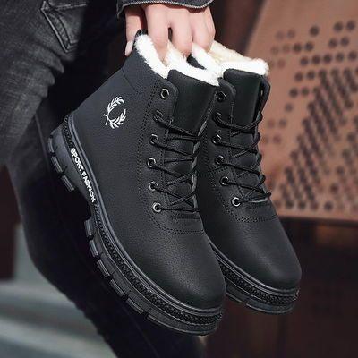 冬季雪地靴男士加绒加厚高帮棉鞋新款保暖马丁靴男韩版百搭中短靴