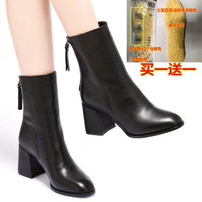 真皮时尚马丁靴女皮鞋秋冬新款网红女短靴潮鞋棉圆方头中筒靴皮靴