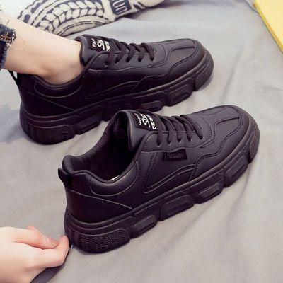 2021年春秋季新款全黑色运动女鞋韩版百搭板鞋厚底老爹ins潮鞋子