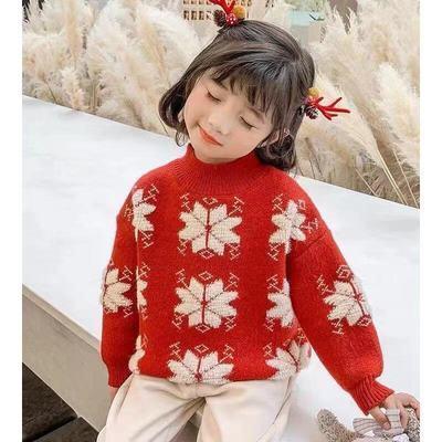 女童装加绒加厚毛衣红色针织衫儿童套头秋冬打底衫宝宝新年毛线衣