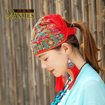 58672/亿舞云南民族风头巾帽子女款新款旅游帽时尚女士复古刺绣花包头帽