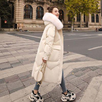 72462/大毛领羽绒服女中长款过膝2021冬装新款宽松显瘦加厚白鸭绒外套潮