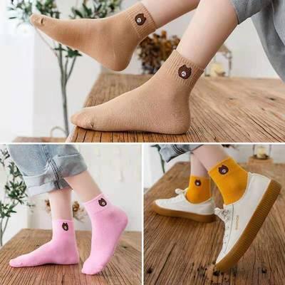袜子女秋冬季中筒袜女士可爱纯色棉袜女袜潮流韩版学院风日系长袜