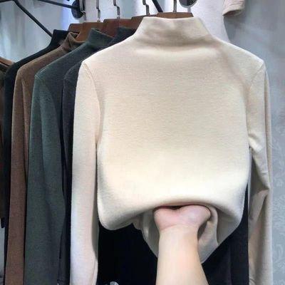 双面磨毛自发热德绒半高领打底衫女百搭秋冬加绒加厚内搭保暖上衣