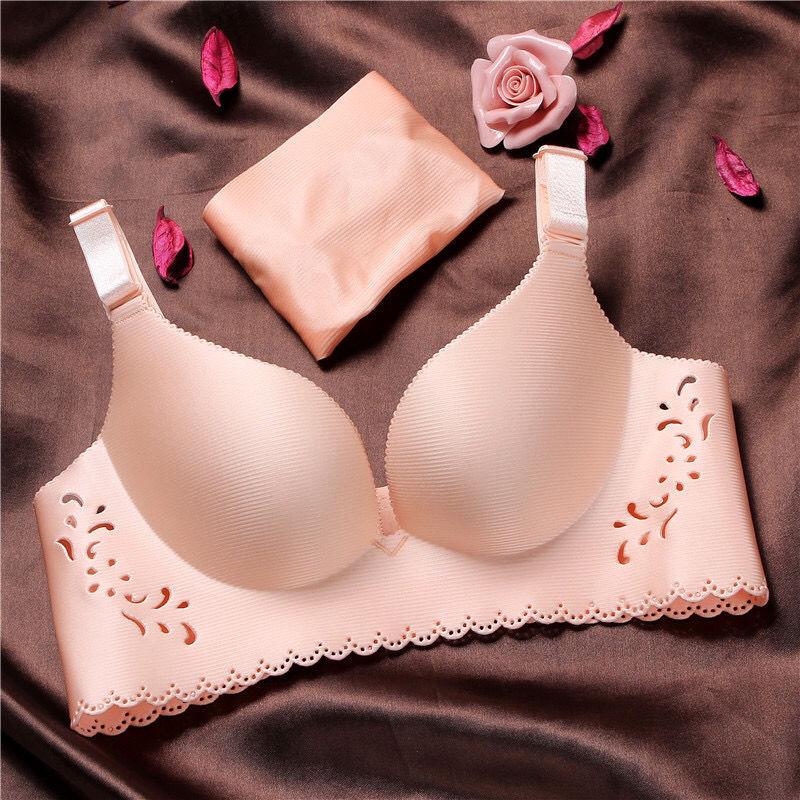 便宜的本命年一片式无痕拉丝无钢圈文胸性感小胸聚拢调整型收副乳内衣女