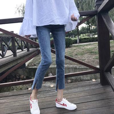 55211/八分直筒牛仔裤女显瘦直筒裤高腰矮小个子新款复古蓝弹力开叉8分
