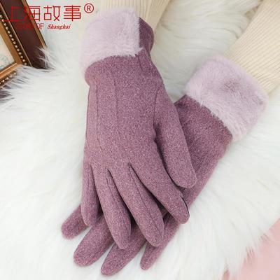 上海故事手套女冬季简约时尚五指保暖手套开车骑行骑车加绒厚手套