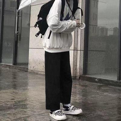 71292/冬季加厚黑色阔腿裤子女学生宽松显瘦九分裤韩版百搭矮个子休闲裤