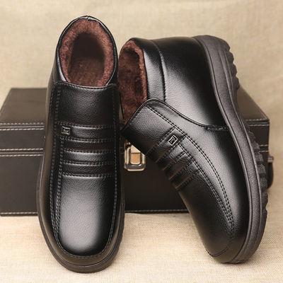 新款男士棉鞋冬季保暖加绒加厚休闲高帮中老年爸爸鞋老人棉皮鞋子