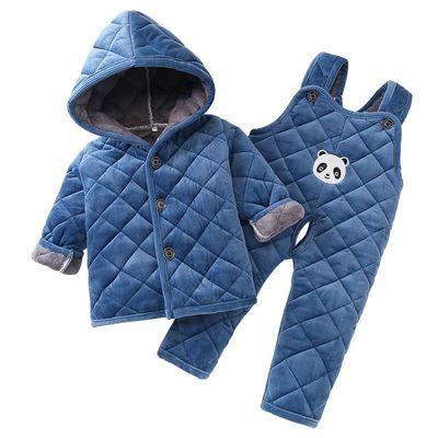 69934/冬季儿童加厚睡衣三层夹棉法兰绒男童女童宝宝家居服棉衣套装