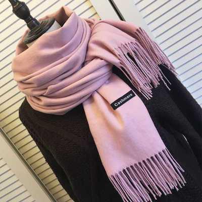秋冬新品仿羊绒纯色加厚保暖围巾男女加大披肩冬季围脖围巾女冬款