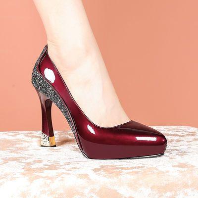防水台高跟鞋粗跟单鞋女2021春秋季新款拼色时尚浅口尖头漆皮女鞋