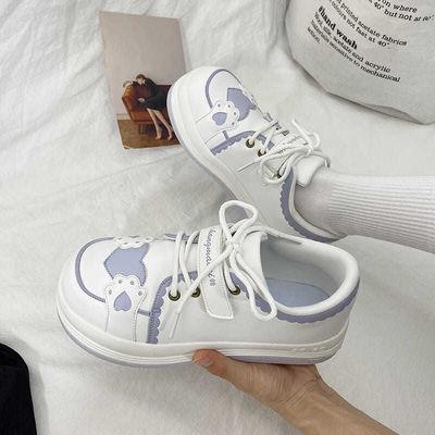 67496/ins小白鞋女2021新款韩版ulzzang百搭学生运动鞋圆头厚底板鞋子潮