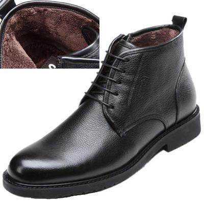 沙驰男鞋皮靴男士真皮商务正装高帮棉鞋男冬季加绒保暖棉靴男靴子