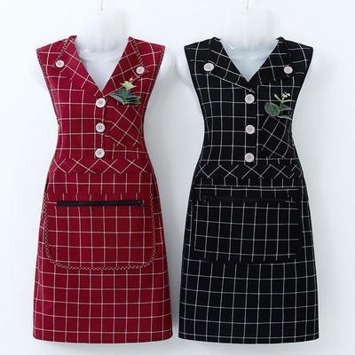75192/新款日式围裙工作服女厨房家用做饭防污无袖罩衣透气洋气干活上班