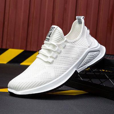 新款飞织透气跑步鞋防滑轻便休闲鞋浅口系带男鞋男士运动鞋潮鞋