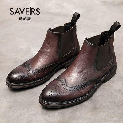 冬季新款马丁靴男英伦复古中帮布洛克切尔西靴男加绒保暖真皮短靴