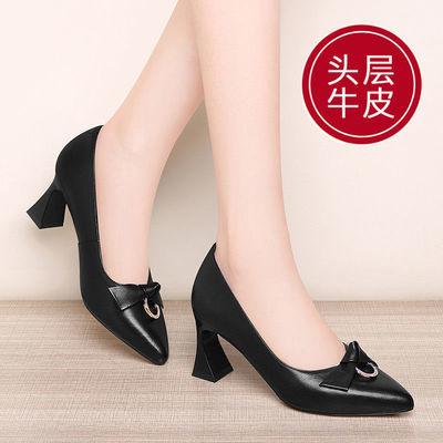 古奇天伦头层牛皮真皮单鞋女尖头高跟鞋女粗跟时装鞋皮鞋女鞋2341