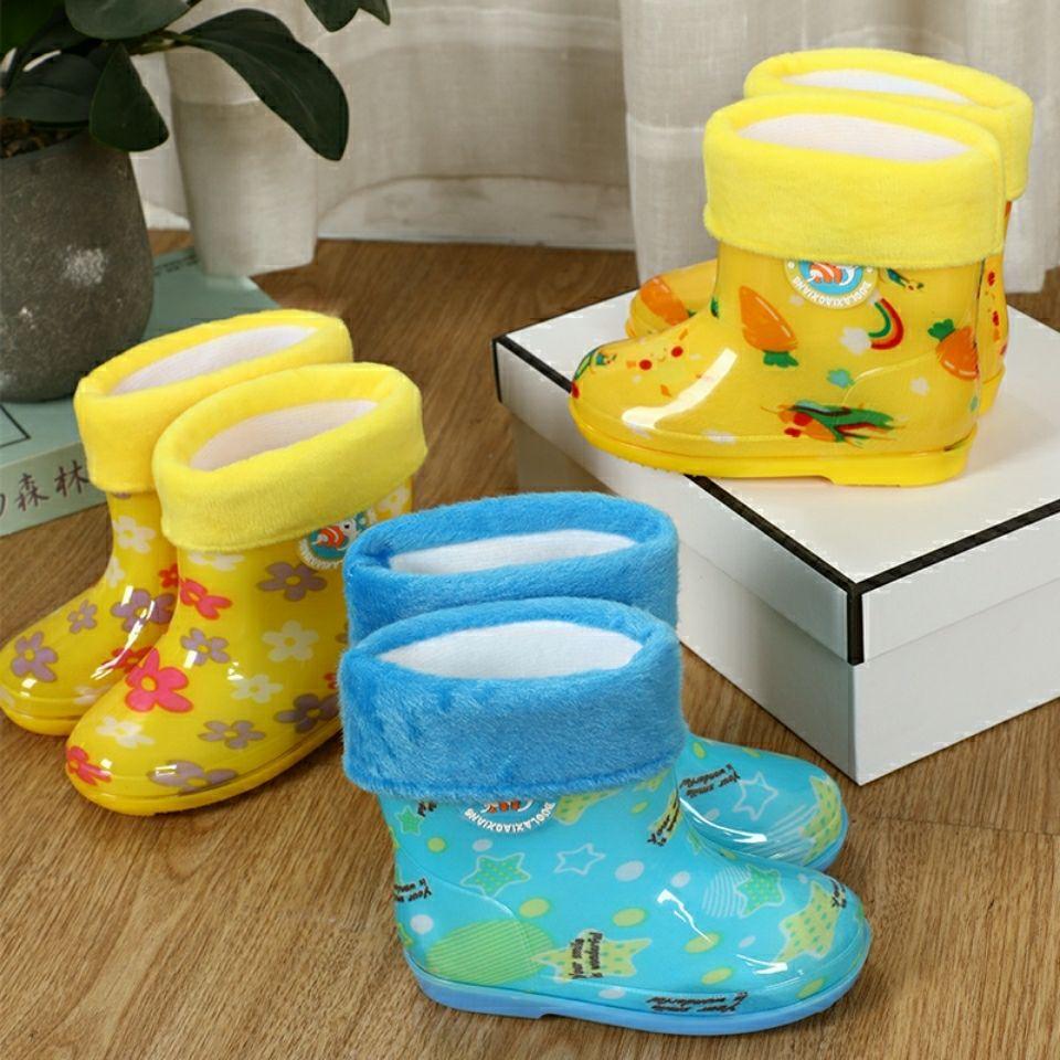 儿童雨鞋儿童加绒女童靴子冬款童鞋男加厚防水保暖短鞋新款水鞋