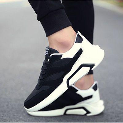 春季新款运动男鞋 飞织透气防滑轻便旅游鞋 学生跑步鞋韩版浅口