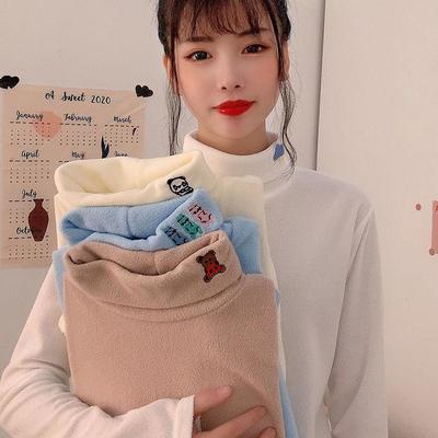 89029/摇粒绒打底衫长袖女2020秋冬季高领上衣修身保暖加绒加厚甜美可爱