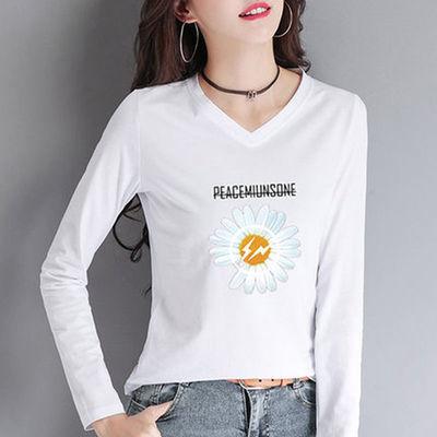 78425/不起球棉质秋冬季新款韩版圆领印花长袖上衣宽松白色t恤打底衫女