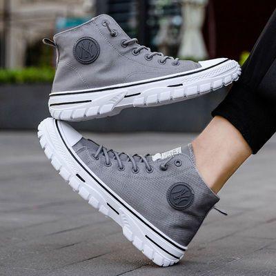 男士高帮休闲鞋2021春季新款帆布鞋时尚韩版透气潮鞋