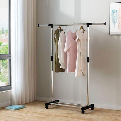 晾衣架落地单杆式阳台伸缩挂衣架升降晒衣服凉架简易不锈钢晾衣杆