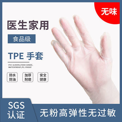 食品级TPE手套 弹性加厚防油一次性手套餐饮家务美容美发防护手套