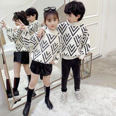 女童水貂绒毛衣套头加厚2020新款秋冬洋气中大儿童女孩针织打底衫
