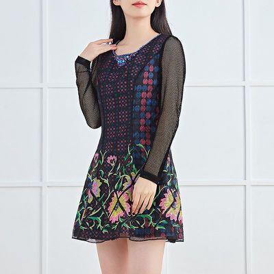 9983/妈妈刺绣连衣裙女长袖秋季领口镶钻显瘦洋气台湾品牌魔婕裙子0285