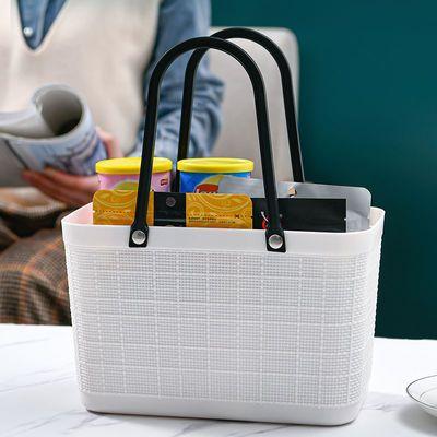 78919/日式手提篮超市购物篮时尚环保买菜篮子家用收纳筐塑料简约收纳篮