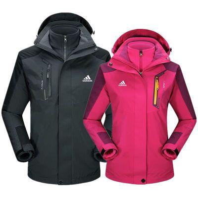 品牌户外冲锋衣男女可拆卸三合一两件套秋冬季加绒加厚登山服外套