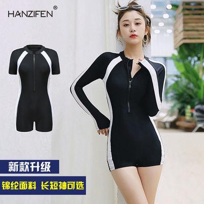 32834/韩版连体泳衣女长款运动短款平角防晒性感显瘦遮肚专业潜水泳装