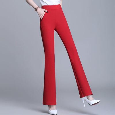75117/垂感喇叭裤女高腰春夏红色裤子2021新款宽松显瘦休闲直筒微喇女裤
