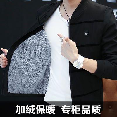 男士外套春季2021新款加绒夹克中青年休闲韩版潮流修身帅气上衣服