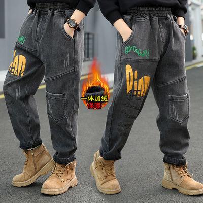 男童牛仔裤一体绒加厚冬季新款2020韩版帅气儿童男孩加绒牛仔裤潮