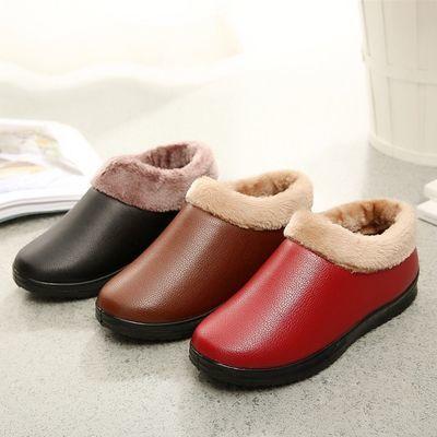老北京布鞋加绒保暖女棉鞋冬季运动女鞋妈妈鞋布鞋皮面加厚一脚蹬【3月3日发完】